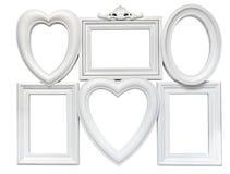 O grupo do plástico branco soldou quadros para fotos fotos de stock royalty free