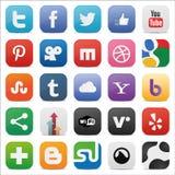 O grupo do Social esquadrou ícones Fotografia de Stock Royalty Free