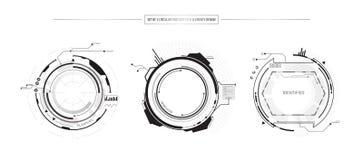 O grupo do sumário de 3 elementos do conceito da inovação do ícone de HUD UI projeta no fundo branco ilustração do vetor