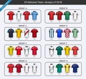 O grupo do grupo do uniforme do jérsei de futebol 2018 da equipa nacional, modelo dos jogadores de futebol para sua apresentação  Foto de Stock
