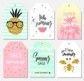 O grupo do verão das etiquetas da venda e do presente, etiquetas com a mão bonito tirada projeta elementos, rotulação escrita à m Fotos de Stock Royalty Free
