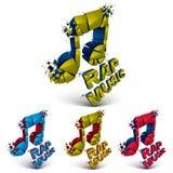 O grupo do vetor 3d colorido quebrou notas musicais com as salpicaduras Imagem de Stock