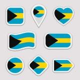 O grupo do vetor da bandeira do Bahamas O baamiano embandeira a coleção das etiquetas Ícones geométricos isolados Crachás dos sím ilustração do vetor