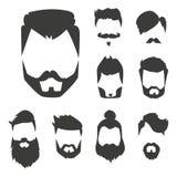 O grupo do vetor da barbeação velha retro do vintage do bigode do penteado do moderno do corte de cabelo facial masculino da barb Imagem de Stock