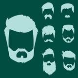 O grupo do vetor da barbeação velha retro do vintage do bigode do penteado do moderno do corte de cabelo facial masculino da barb Fotografia de Stock Royalty Free