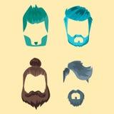 O grupo do vetor da barbeação velha retro do vintage do bigode do penteado do moderno do corte de cabelo facial masculino da barb Fotografia de Stock