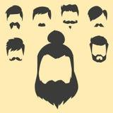 O grupo do vetor da barbeação velha retro do vintage do bigode do penteado do moderno do corte de cabelo facial masculino da barb Fotos de Stock