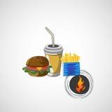 O grupo do vetor de bebida do fast food, hamburguer, frita Fotos de Stock