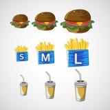 O grupo do vetor de bebida do fast food, hamburguer, frita Fotos de Stock Royalty Free
