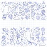 O grupo do vetor de bloco de notas dos ícones da garatuja verificou o papel - faculdade criadora e inspiração, ideia e imaginação ilustração royalty free
