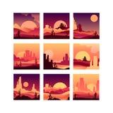 O grupo do vetor de cartões com deserto arenoso ajardina com plantas do cacto, as montanhas rochosas e os nasceres do sol dos por ilustração royalty free