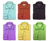 O grupo do vetor de cor dobrou camisas longas das luvas Foto de Stock