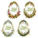 O grupo do vetor de cor floral eggs para a Páscoa Foto de Stock Royalty Free