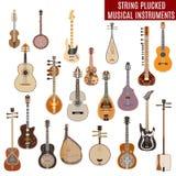 O grupo do vetor de corda arrancou instrumentos musicais no fundo branco Imagens de Stock
