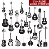 O grupo do vetor de corda preto e branco arrancou instrumentos musicais no projeto liso Imagem de Stock