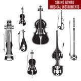O grupo do vetor de corda preto e branco curvou instrumentos musicais no projeto liso Fotos de Stock