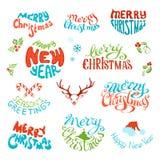 O grupo do vetor de elementos retros para o Natal projeta Imagem de Stock Royalty Free