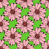 O grupo do vetor de flores coloridas tiradas mão e a folha ramificam ilustração isolada no cinza Fotos de Stock