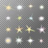 O grupo do vetor de luz de incandescência estoura com sparkles Foto de Stock