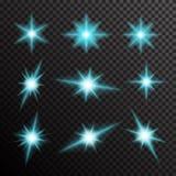 O grupo do vetor de luz de incandescência estoura com sparkles Imagem de Stock