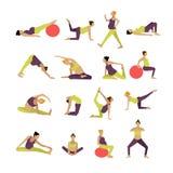 O grupo do vetor de mulheres gravidas está fazendo o exercício e a ioga Elementos do projeto, ícones no fundo branco ilustração stock