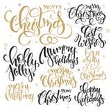 O grupo do vetor de Natal da rotulação da mão cita - o Feliz Natal, azevinho agradavelmente e outro, escrito em vários estilos ilustração do vetor