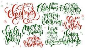O grupo do vetor de Natal da rotulação da mão cita - o Feliz Natal, azevinho agradavelmente e outro, escrito em vários estilos ilustração stock