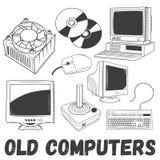 O grupo do vetor de produtos eletrônicos e de computadores velhos objeta no estilo do vintage Ilustração do conceito da tecnologi ilustração royalty free