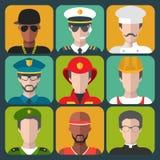 O grupo do vetor de profissões diferentes equipa ícones no estilo liso na moda Foto de Stock