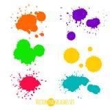O grupo do vetor de seis tintas coloridas espirra Fotos de Stock Royalty Free