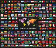 O grupo do vetor de todo o countriessovereign do mundo indica as bandeiras arranjadas em ordem alfabética Mapa do mundo com nomes ilustração royalty free