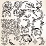 O grupo do vetor de vintage caligráfico roda para o projeto Imagens de Stock Royalty Free