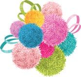 O grupo do vetor do bebê colorido caçoa a festa de anos Pom Poms e o elemento das fitas Fotografia de Stock