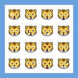O grupo do vetor do emoticon do tigre, encheu o curso editável do estilo ilustração stock