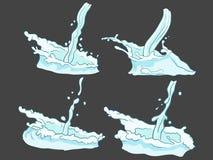 O grupo do vetor espirram e a água do fluxo ilustração do vetor