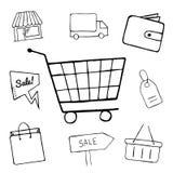 O grupo dos ícones da garatuja do negócio, ícones de compra para o projeto, loja tirada mão, venda, saco de compras, cesta objeta Fotos de Stock