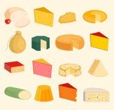 O grupo dos desenhos animados dos ícones da variedade da paz das fatias do queijo do vetor isolou a ilustração Variedades aliment ilustração royalty free