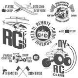 O grupo dos emblemas controlados de rádio da máquina, RC, os brinquedos controlados de rádio projeta elementos para emblemas, íco Fotos de Stock