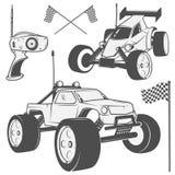 O grupo dos emblemas controlados de rádio da máquina, RC, os brinquedos controlados de rádio projeta elementos para emblemas, íco Imagens de Stock