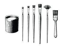 O grupo e a pintura de escovas da pintura do vintage podem entregar o clipart do desenho são ilustração stock