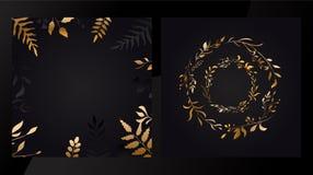 O grupo floral do casamento convida o projeto de cart?es com estilo dourado das folhas do vetor Ouro do c?rculo Vetor ilustração royalty free