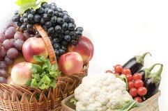 O grupo grande de alimento do vegetal e da fruta objeta Fotografia de Stock Royalty Free