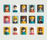 O grupo grande de avatars perfila ícones lisos das imagens Fotografia de Stock Royalty Free