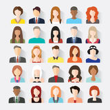 O grupo grande de avatars perfila ícones lisos das imagens Fotos de Stock