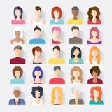O grupo grande de avatars perfila ícones lisos das imagens Imagem de Stock Royalty Free