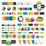 O grupo grande de cartas de elementos infographic, diagramas, discurso borbulha Imagem de Stock