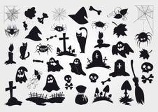 O grupo grande do vetor de Dia das Bruxas mostra em silhueta objetos e criaturas ilustração stock