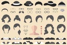 O grupo grande do vetor de veste acima o construtor com cortes de cabelo diferentes da mulher, vidros, bordos, desgaste etc. A fê ilustração do vetor