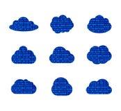 O grupo isolado, nuvens Textured da nuvem dos dados do vetor do código binário, tecnologia assina a coleção ilustração do vetor
