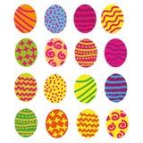 O grupo isolado ovos da páscoa com detalhes do esboço decorou o fundo brilhante ilustração royalty free